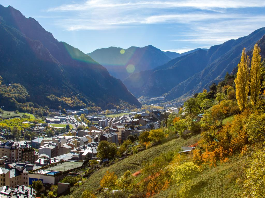 View of Andorra La Vella valley from surrounding mountains