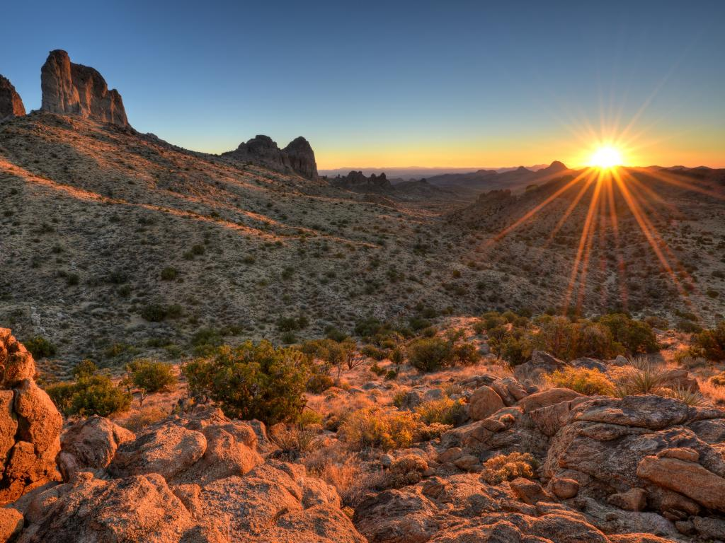 Castle Peaks Sunrise Mojave National Preserve, California