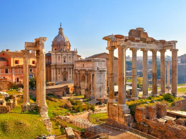A view over Roman ruins in Rome on a sunny day
