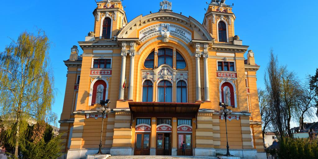 The front of the National Theatre, Cluj-Napoca
