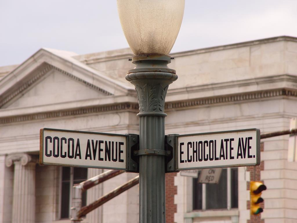 Green and white road sign at the intersection of Cocoa Avenue and East Chocolate Avenue