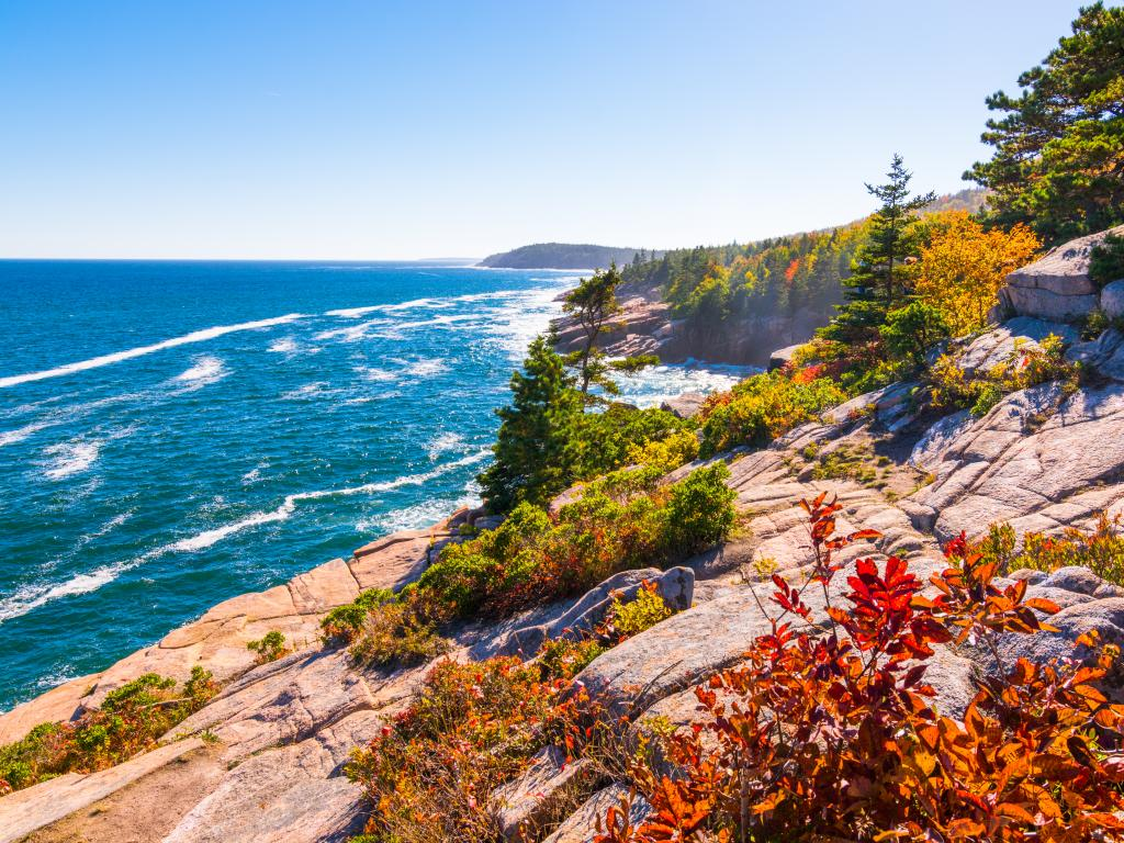 The rocky cliffs and coastline of Acadia National Park, Maine.