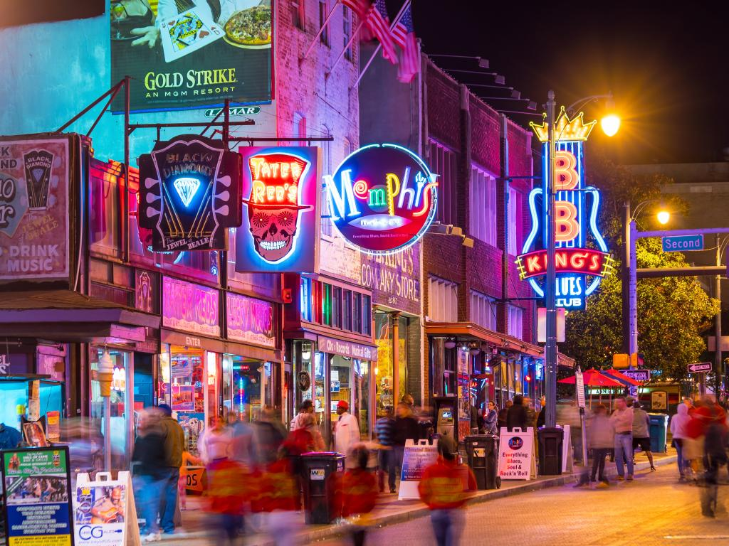 Neon lights outside blues bars along Beale Street in Memphis, Tennessee.