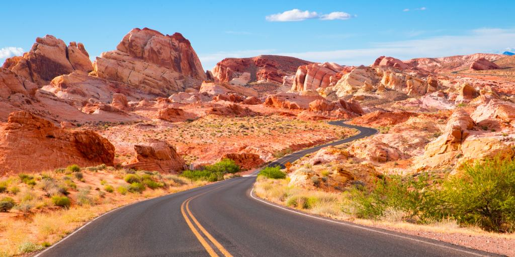 Road through the Valley of Fire State Park in Nevada, USA