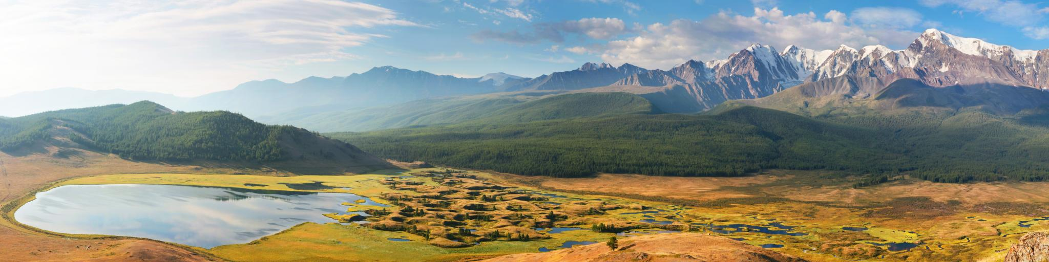 Altai mountains in Siberia in Russia along the drive from Moscow to Vladivostok.