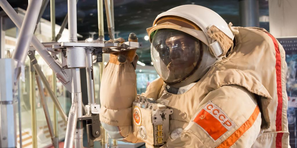 A mannequin wearing a USSR space suit at the Museum of Cosmonautics, Moscow