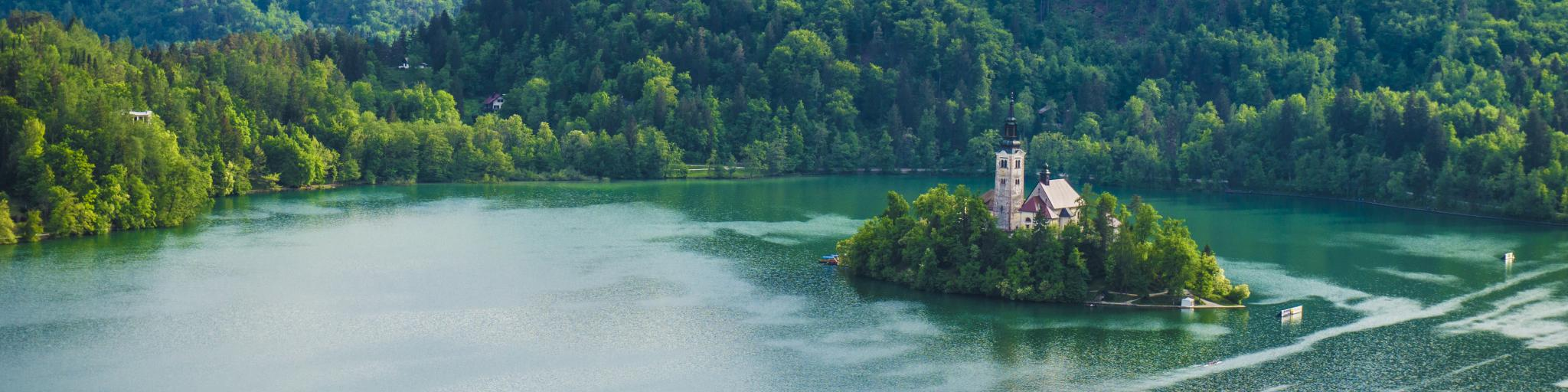 Bled Castle sits on an island in the middle of Slovenia's scenic Lake Bled