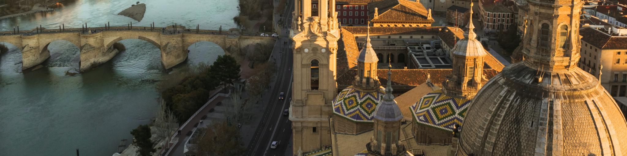A bird's eye view of Zaragoza, Spain, and the turrets of Cathedral Basilica of Our Lady of the Pillar