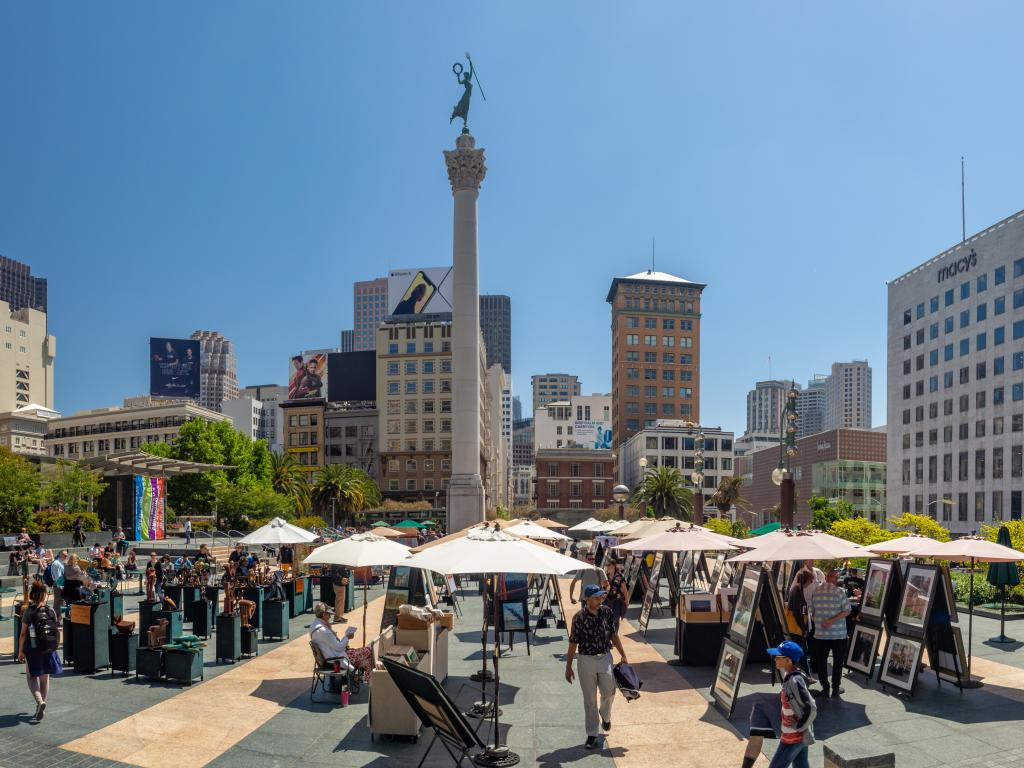 Market stalls on Union Square in San Francisco - a great place to start the 49 Mile Scenic Drive.