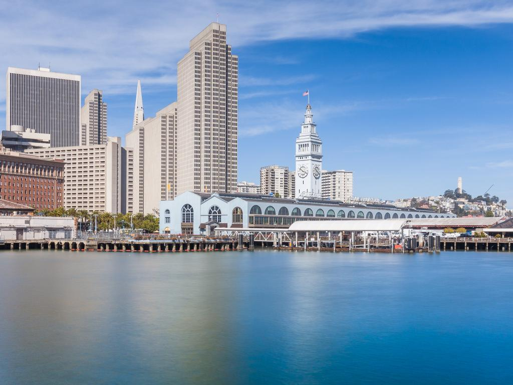 View of the San Francisco Ferry Building and the city skyline from San Francisco Bay