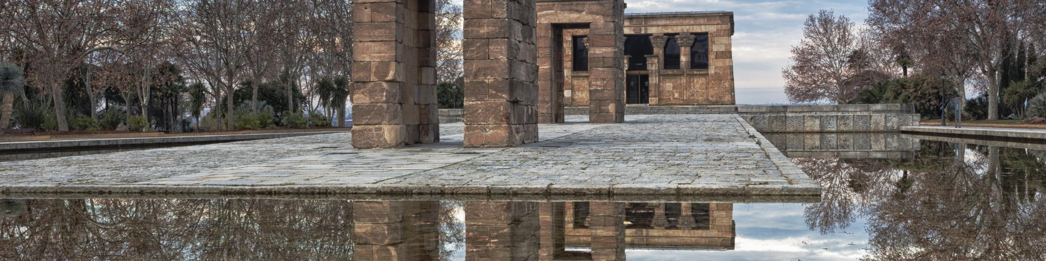 Templo de Debod and its reflection in water