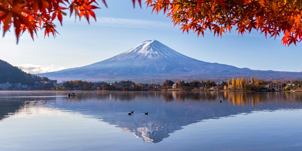 Mount Fuji reflected on Lake Kawaguchi, Japan