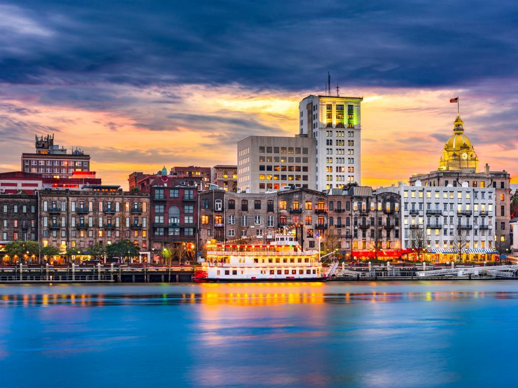 View of the Savannah River and city skyline in Savannah, Georgia
