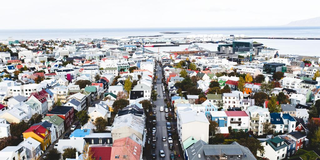 An aerial view of the colourful roofs of Reykjavik in Iceland