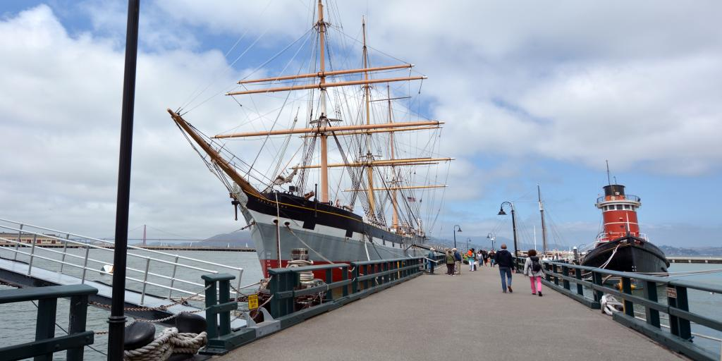 Hyde Street Pier in Fisherman's Wharf - part of the San Francisco Maritime National Historical Park
