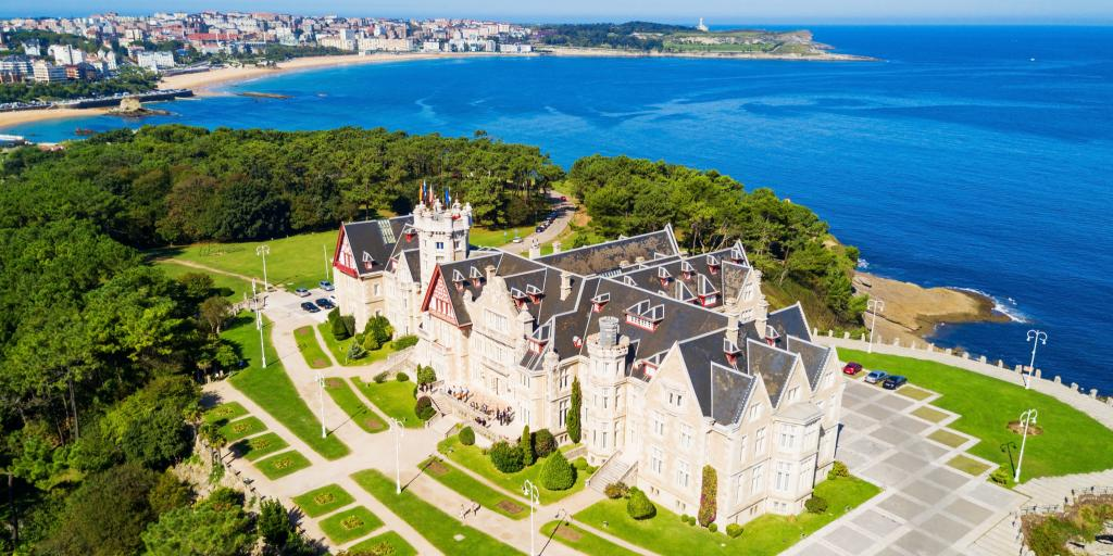 Aeria view of the grand Palacio Magdalena on a peninsula in Santander, Spain