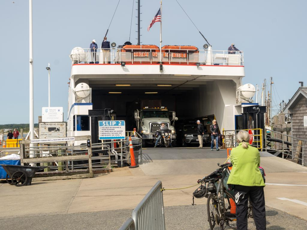 Cars and passengers boarding the Block Island Ferry at Point Judith, Rhode Island.