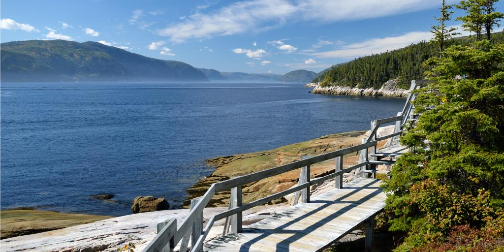 A path along the Saguenay Fjord, Quebec with views of the water