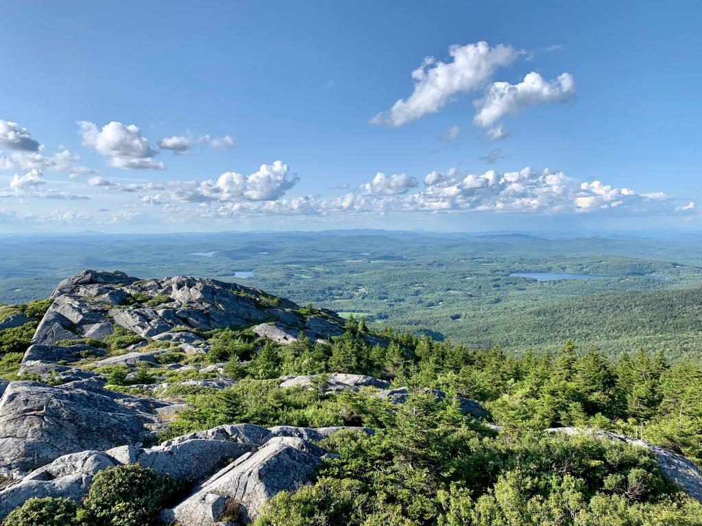View from the top of Mount Monadnock over the surrounding forests and lakes in New Hampshire.