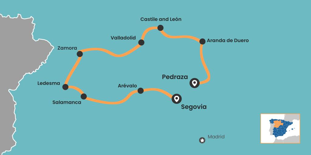 Castile and Leon road trip map from Segovia to Salamanca, Valladolid and Duero valley