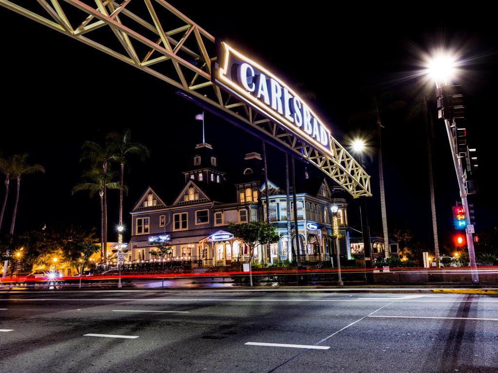Night time in the Carlsbad Village, California