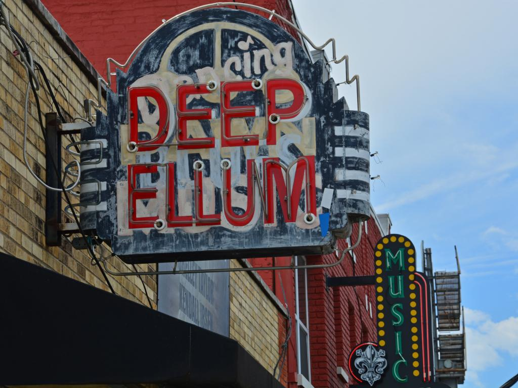 The Deep Ellum neighborhood with live music bars in Dallas, Texas