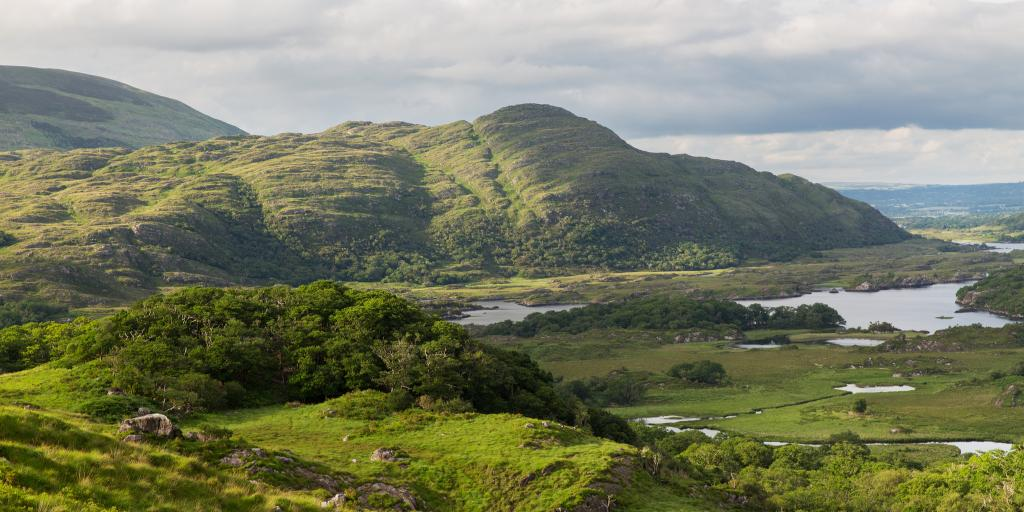 The beautiful green hills of Killarney National Park in Ireland