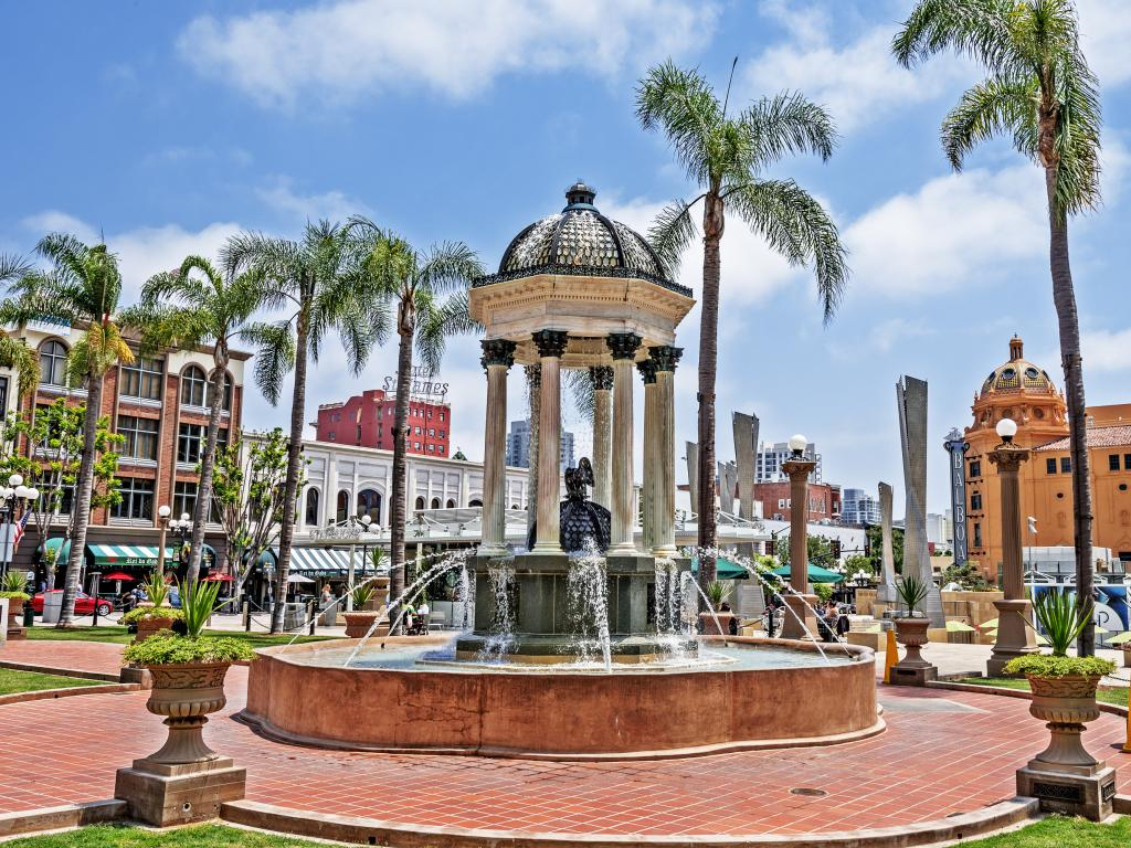 Horton Plaza Park with the Balboa Theatre in the background in the Gaslamp Quarter of San Diego, California.