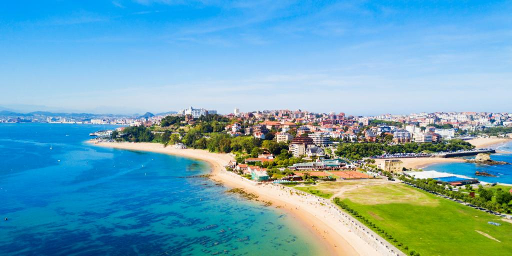 An aerial view of Santander beach in Spain's Cantabria region