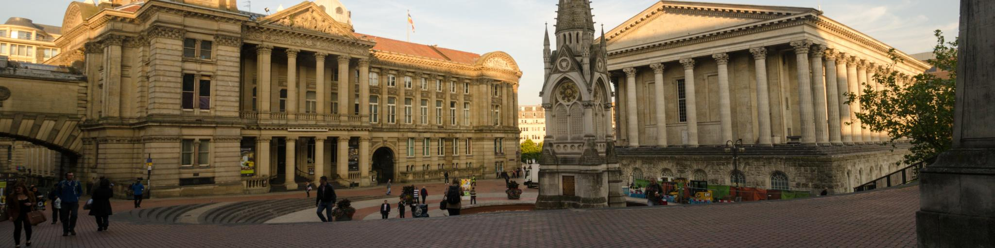 Town Hall and the Museum & Art Gallery are the main features of Chamberlain Square in Birmingham