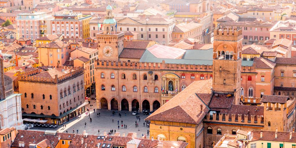 Aerial view of Maggiore town square in Bologna, Italy