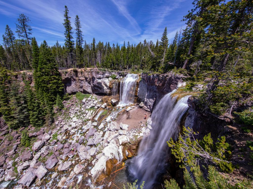 Paulina Creek Falls and forest in the Deschutes National Forest, Oregon.