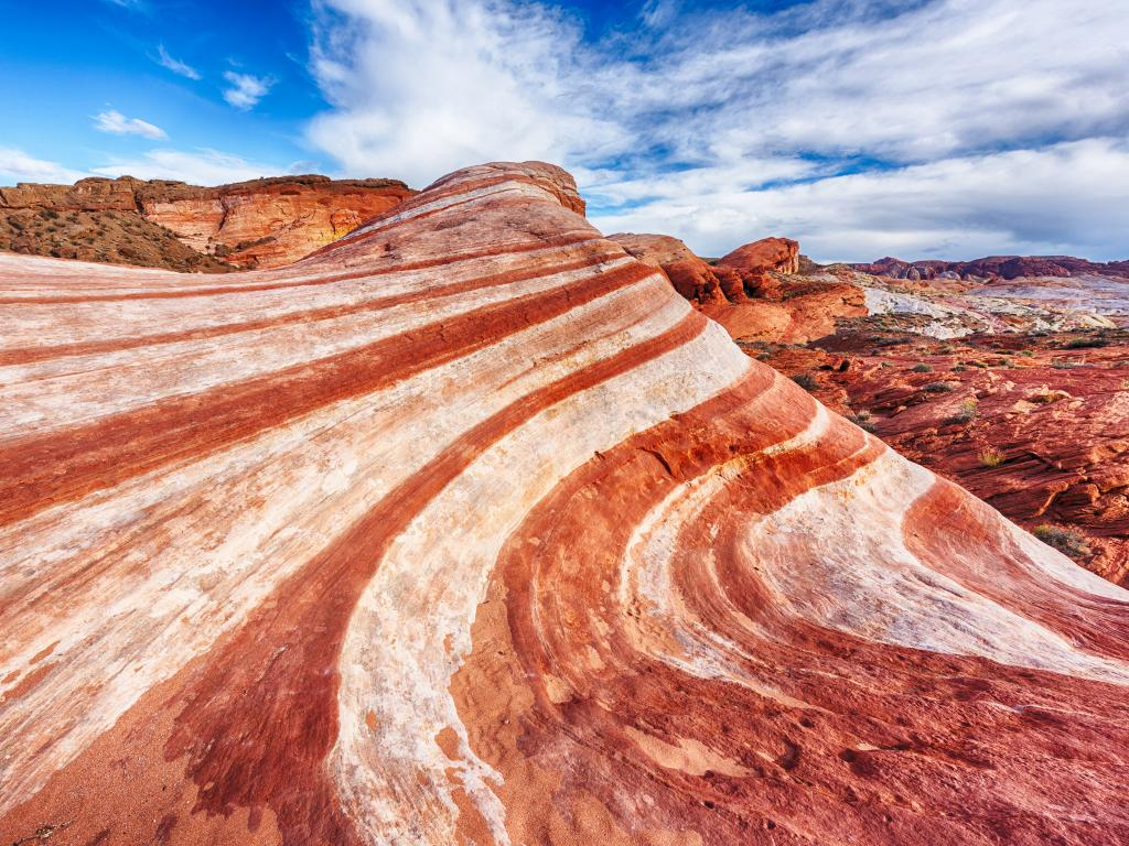 The beautiful layers of Fire Wave rock in Valley of Fire State Park, Nevada.