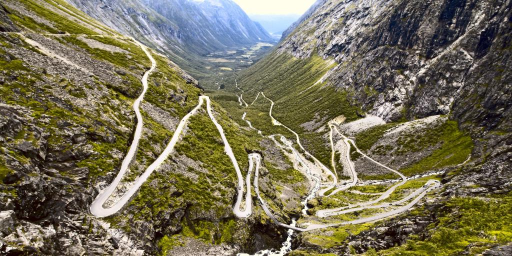 The zig-zagging Trollstigen route winds across the Norwegian countryside