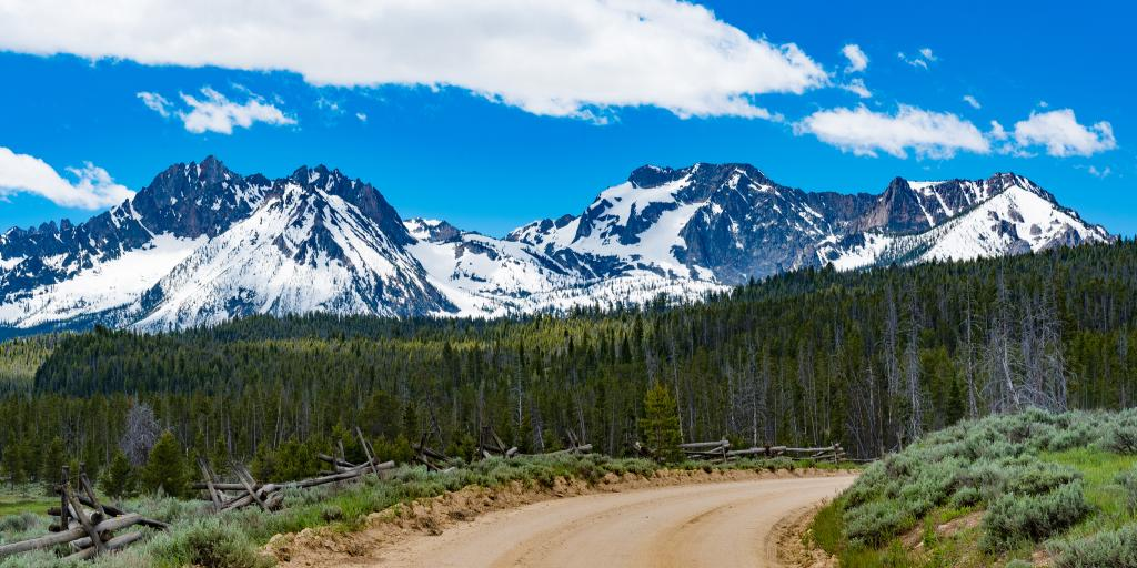A stretch of the Sawtooth Scenic Byway in Idaho