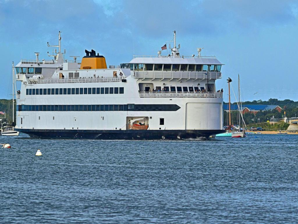 The Martha's Vineyard bay ferry at Woods Hole to Vineyard Haven in a fair day