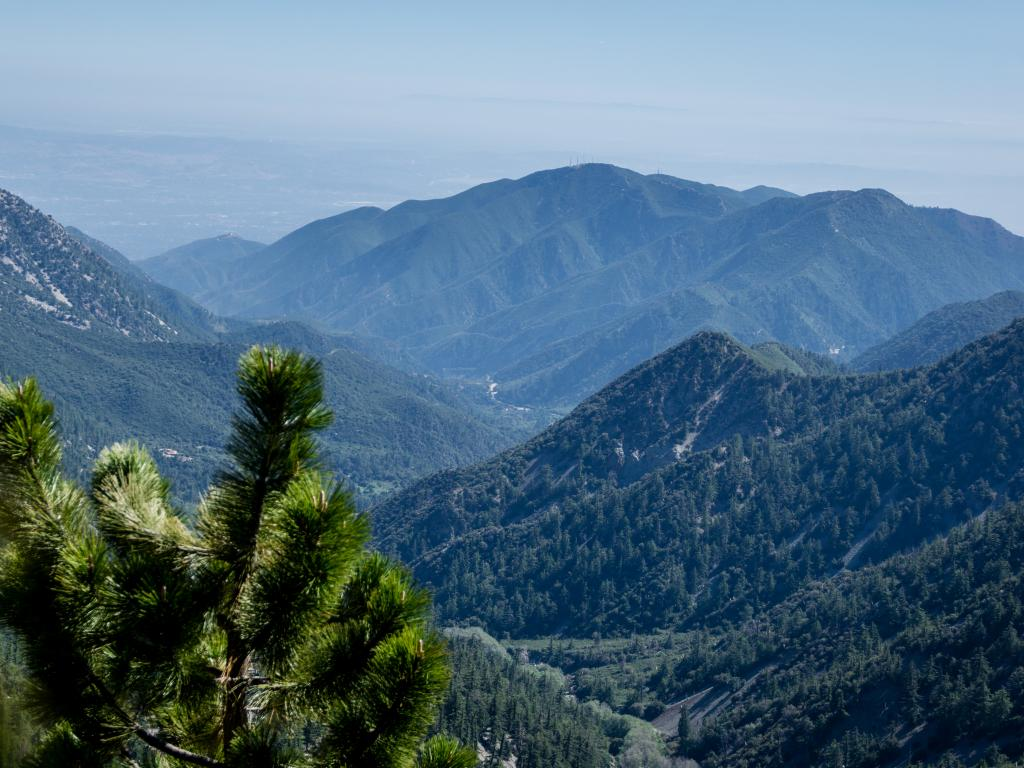 The mountains of San Gabriel Mountains National Monument as seen from the Register Ridge Trail.