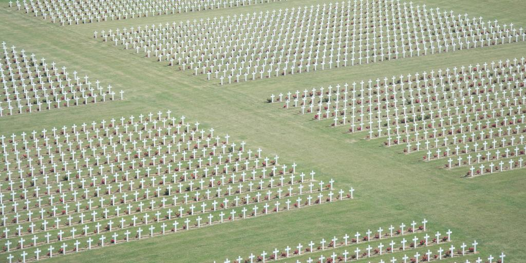 An ariel view of thousands of crosses on graves at Douaumont Cemetery, Verdun, France