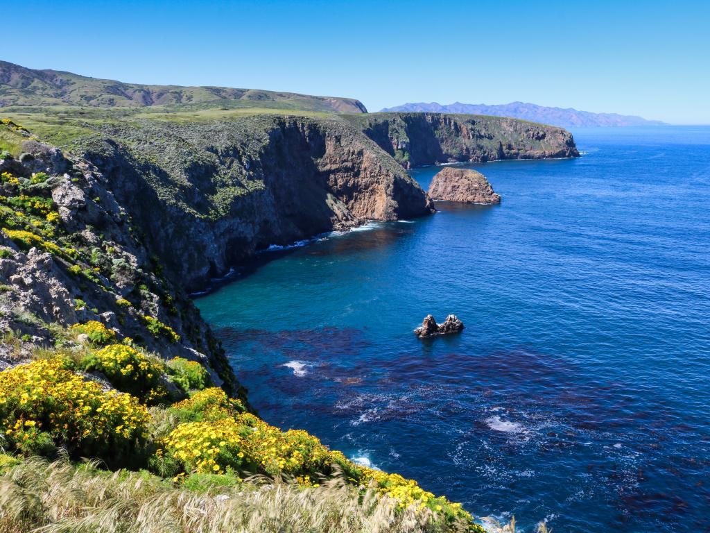 Coastline of Santa Cruz Island - part of the Channel Islands National Park, California