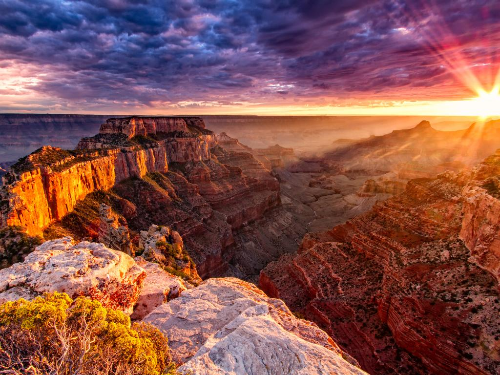 Sunset over Cape Royal at the Grand Canyon North Rim