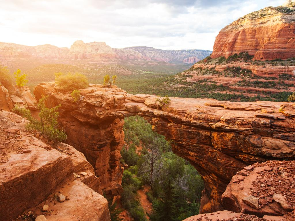 Devil's Bridge Trail over red rocks near Sedona, Arizona