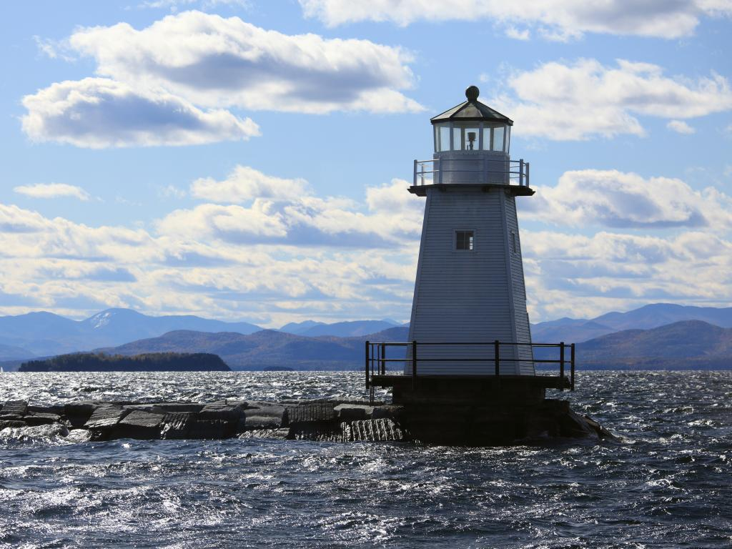 Burlington Breakwater Lighthouse on Lake Champlain in Burlington, Vermont.