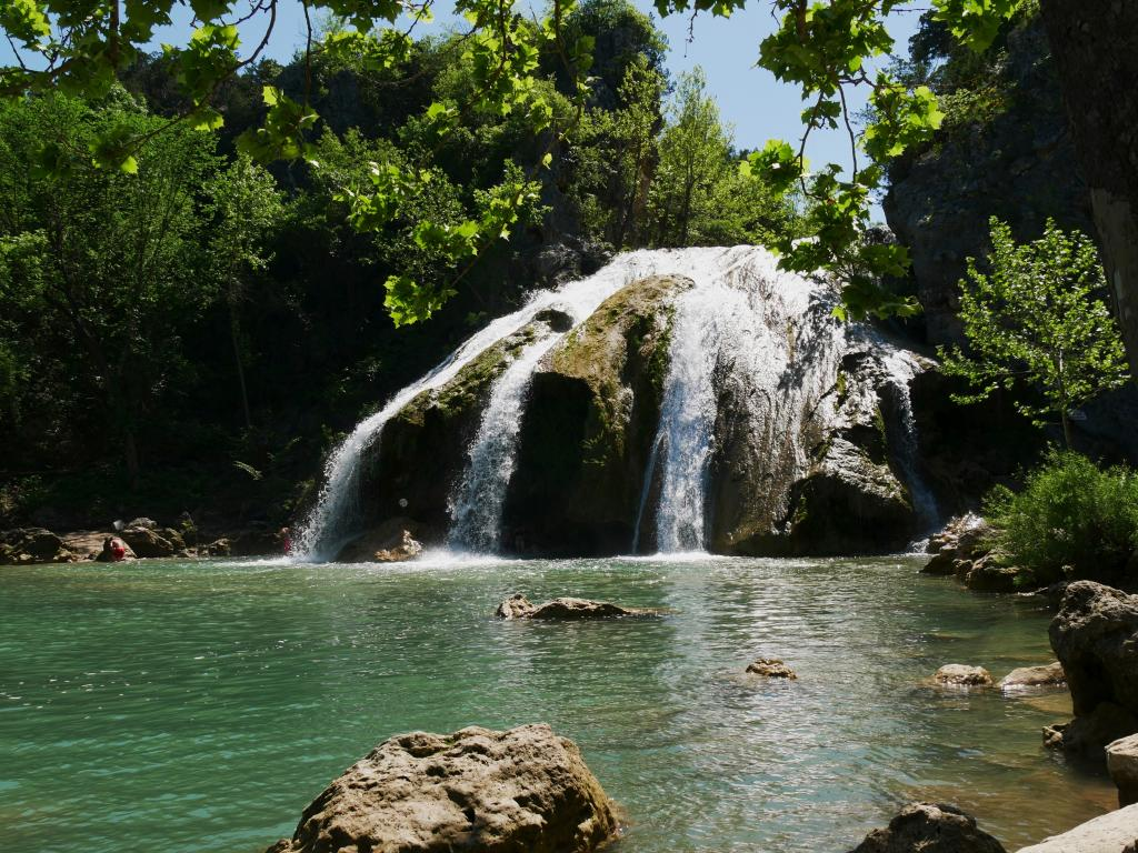 Turner Falls Park in Oklahoma with the famous waterfall.
