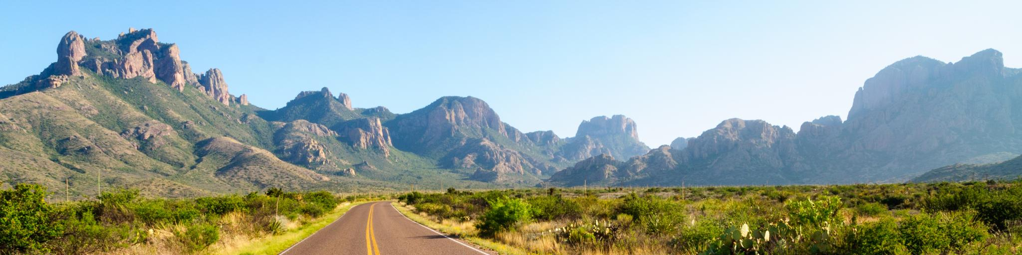 Road running through the Big Bend National Park in Texas with mountains in the background.