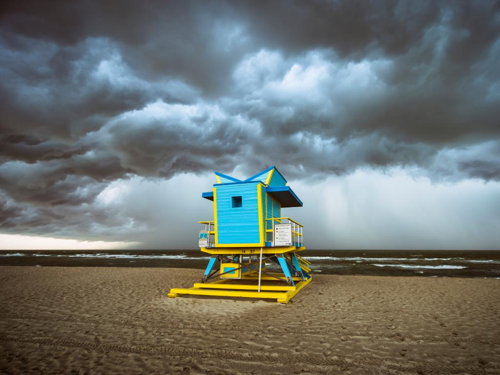 A September storm approaching a colorful lifeguard hut on Miami's South Beach