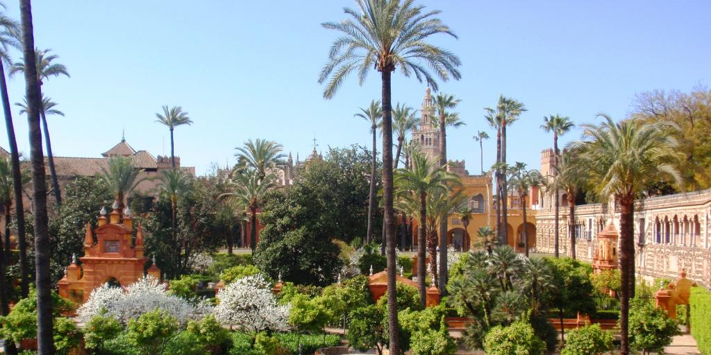 Palm trees and manicured gardens on the grounds of Real Alcazar in Seville