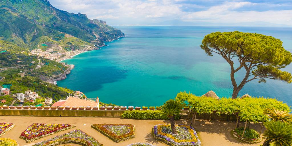 Stunning view from Villa Rufolo in Ravello town on the Amalfi coast, Campania region, Italy