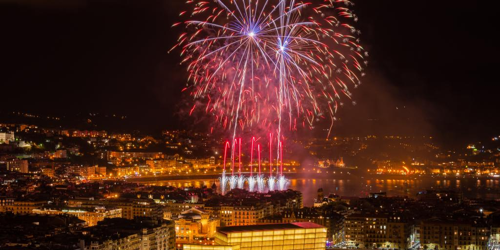 Fireworks over San Sebastian, Spain, during Semana Grande