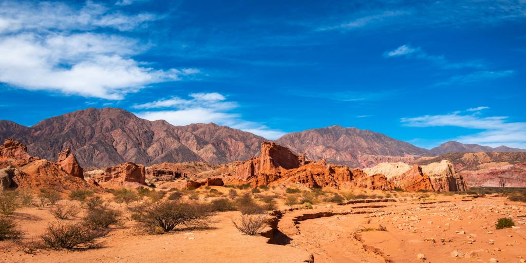 A view of the arid, red landscape of Quebrada de las Conchas, Argentina