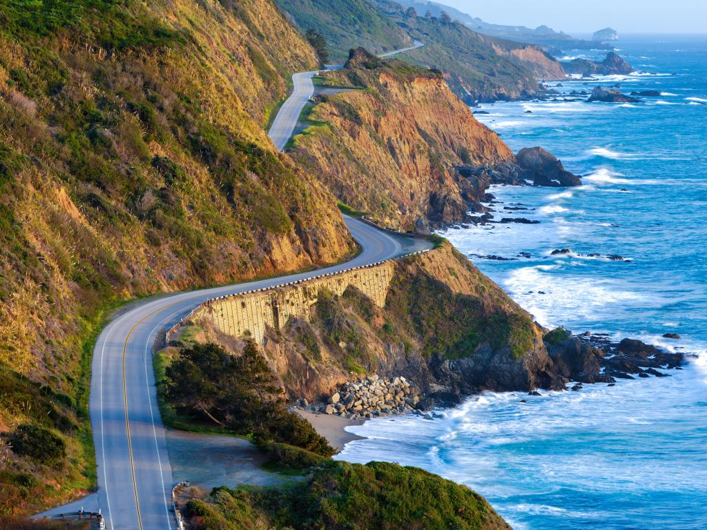 Pacific Coast Highway following the rugged coastline through the Big Sur in California.
